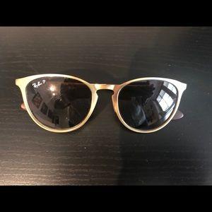 Ray-Ban Polarized brushed gold sunglasses